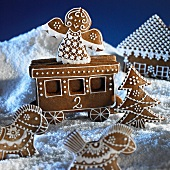 Gingerbread figures in a wintry landscape