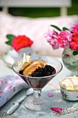 Blackberry cobbler with clotted cream