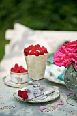 Rasberry fool on a table in the garden