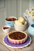 Pecan pie with vanilla ice cream