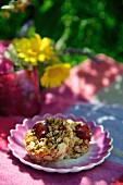Muesli cake with cherries