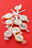 Sugar lollies in cellophane paper