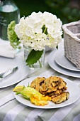 Fried courgette with courgette flowers