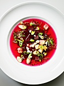 Beetroot soup with cheese croutons