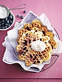Blueberry waffles with cream