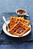 Pizza waffles with cheese and ham