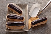 Eclairs filled with caramel cream