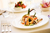 Antipasto di mare (a starter of prawns, squid and octopus)