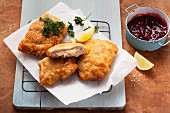 Chicken Cordon Bleu with cranberries