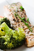 Salmon fillet with sesame seeds and broccoli