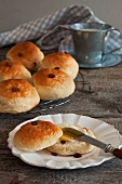 Milk rolls with raisins and butter