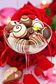 Chocolates in a champagne glass for Valentine's Day