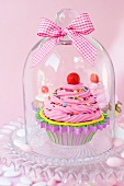 Cupcakes under a glass cover with a ribbon