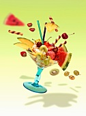 A flying fruit sundae with flying fruits