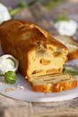 Apple loaf cake, slices cut