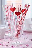 Straws decorated with paper hearts