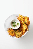 Carrot fritters with sesame seeds