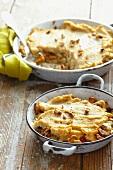 Celeriac, Jerusalem artichoke and mushroom gratin