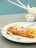 Cheese waffles with carbonara sauce