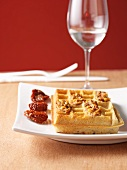 Parmesan waffles with tomato pesto