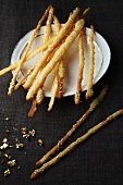 Crispy cheese sticks with sesame seeds