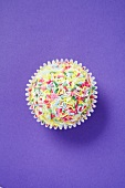 Cupcake with Pink Frosting and Colorful Candy Sprinkles
