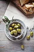 Green olives, served with pecorino