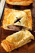 Puff pastry slices filled with beef steak (England)