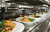 Food on plates in the kitchen