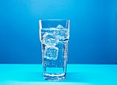 Glass of mineral water with ice