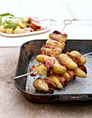 Grilled potato and bacon kebabs