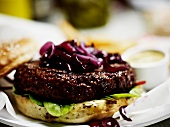 Hamburger with red onions