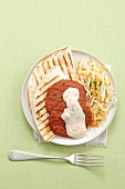 Grilled tortillas with Frikadellen (German meat patties), coleslaw and yoghurt sauce