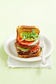 A burger topped with mozzarella, tomatoes and pesto (Italy)