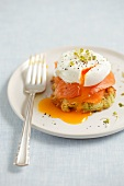 A courgette fritter with smoked salmon and a poached egg