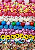 rows of coloured boiled sweets and candies