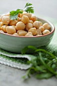 Chickpeas in a bowl with parsley