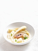 Parsnip soup with goose liver