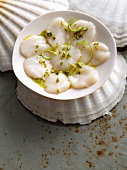 Carpaccio of scallops with pistachios and lime zest