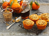 Mandarin and muesli muffins with maple syrup