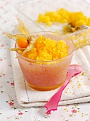 Orange granita with physalis berries
