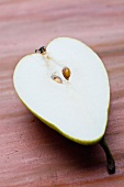 Half a pear, with seeds