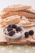 Sweet mascarpone with balsamic blackberries, served with focaccia