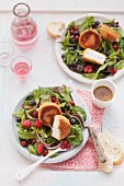 Summer salad with baked Camembert