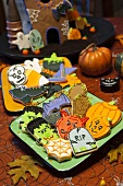 Colourful Halloween biscuits and Halloween decorations