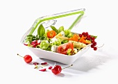 Salad in a storage container