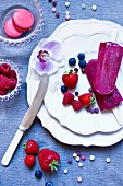 Home-made berry ice lollies