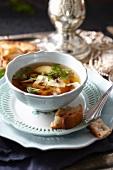 Porcini mushroom soup with dumplings