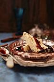 Cinnamon parfait with chocolate sauce