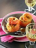Stuffed cooking apples with cinnamon sugar